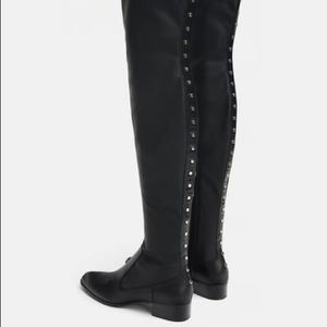Zara black studded flat stretch boots
